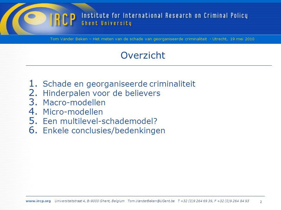 www.ircp.org Universiteitstraat 4, B-9000 Ghent, Belgium Tom.VanderBeken@UGent.be T +32 (0)9 264 69 39, F +32 (0)9 264 84 93 Tom Vander Beken – Het meten van de schade van georganiseerde criminaliteit - Utrecht, 19 mei 2010 2 Overzicht 1.