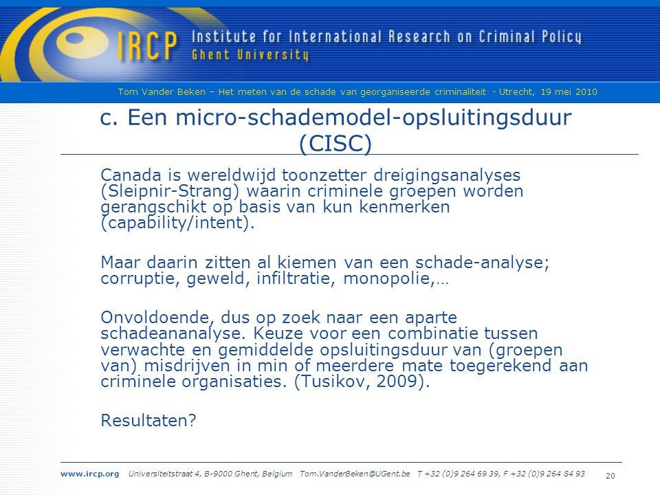 www.ircp.org Universiteitstraat 4, B-9000 Ghent, Belgium Tom.VanderBeken@UGent.be T +32 (0)9 264 69 39, F +32 (0)9 264 84 93 Tom Vander Beken – Het meten van de schade van georganiseerde criminaliteit - Utrecht, 19 mei 2010 20 c.