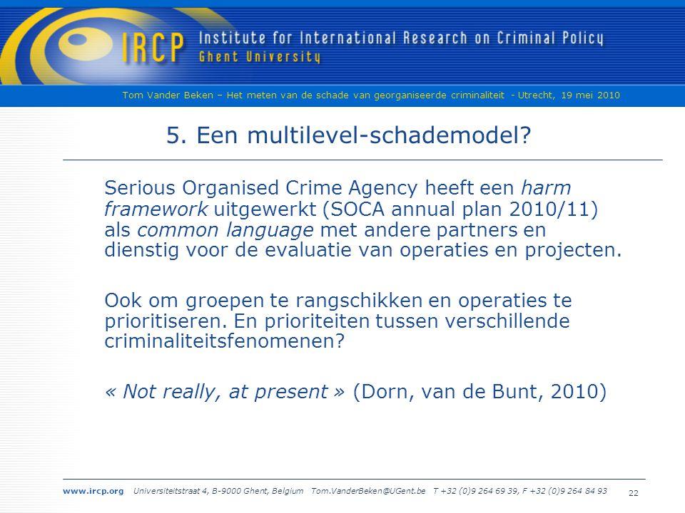 www.ircp.org Universiteitstraat 4, B-9000 Ghent, Belgium Tom.VanderBeken@UGent.be T +32 (0)9 264 69 39, F +32 (0)9 264 84 93 Tom Vander Beken – Het meten van de schade van georganiseerde criminaliteit - Utrecht, 19 mei 2010 22 5.
