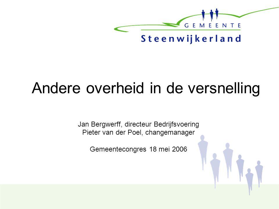 Andere overheid in de versnelling Jan Bergwerff, directeur Bedrijfsvoering Pieter van der Poel, changemanager Gemeentecongres 18 mei 2006