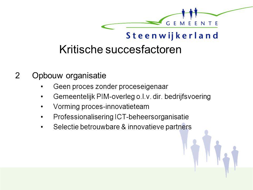 Kritische succesfactoren 2Opbouw organisatie Geen proces zonder proceseigenaar Gemeentelijk PIM-overleg o.l.v.