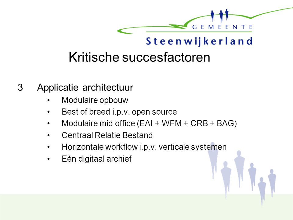 Kritische succesfactoren 3Applicatie architectuur Modulaire opbouw Best of breed i.p.v.