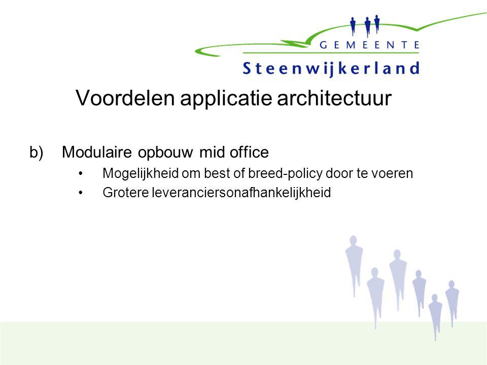 Voordelen applicatie architectuur b)Modulaire opbouw mid office Mogelijkheid om best of breed-policy door te voeren Grotere leveranciersonafhankelijkheid