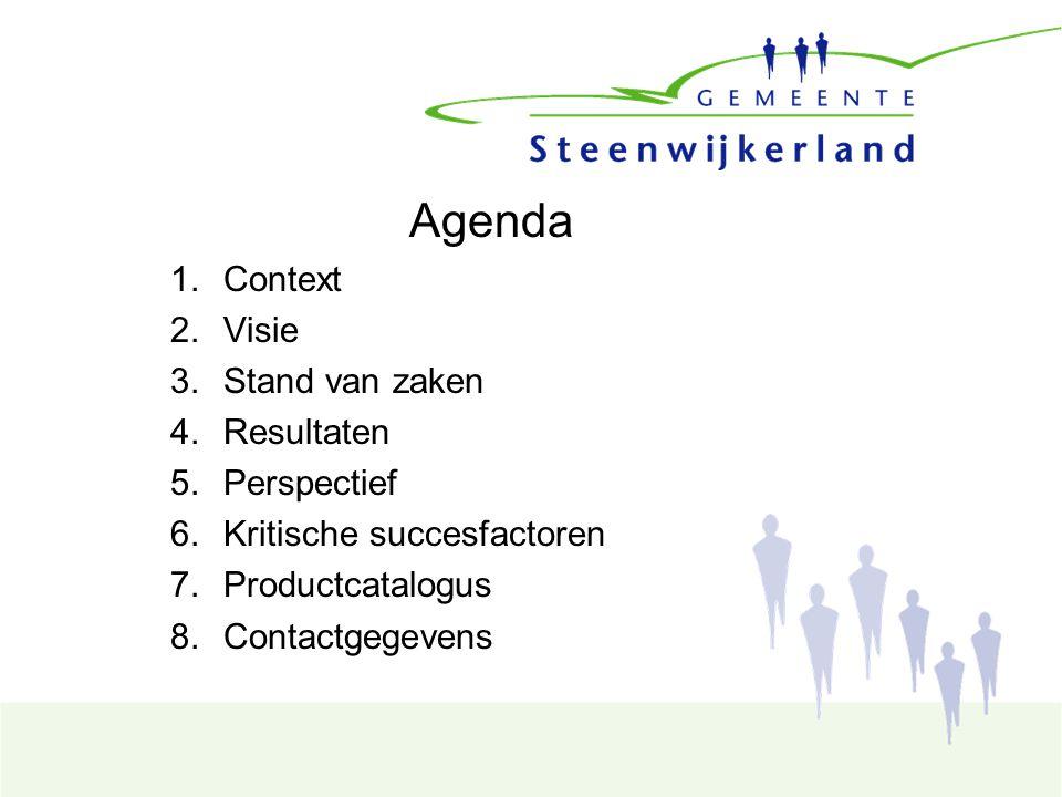 Agenda 1.Context 2.Visie 3.Stand van zaken 4.Resultaten 5.Perspectief 6.Kritische succesfactoren 7.Productcatalogus 8.Contactgegevens