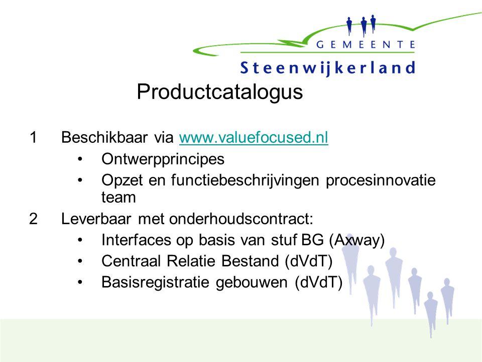 Productcatalogus 1Beschikbaar via www.valuefocused.nlwww.valuefocused.nl Ontwerpprincipes Opzet en functiebeschrijvingen procesinnovatie team 2Leverbaar met onderhoudscontract: Interfaces op basis van stuf BG (Axway) Centraal Relatie Bestand (dVdT) Basisregistratie gebouwen (dVdT)