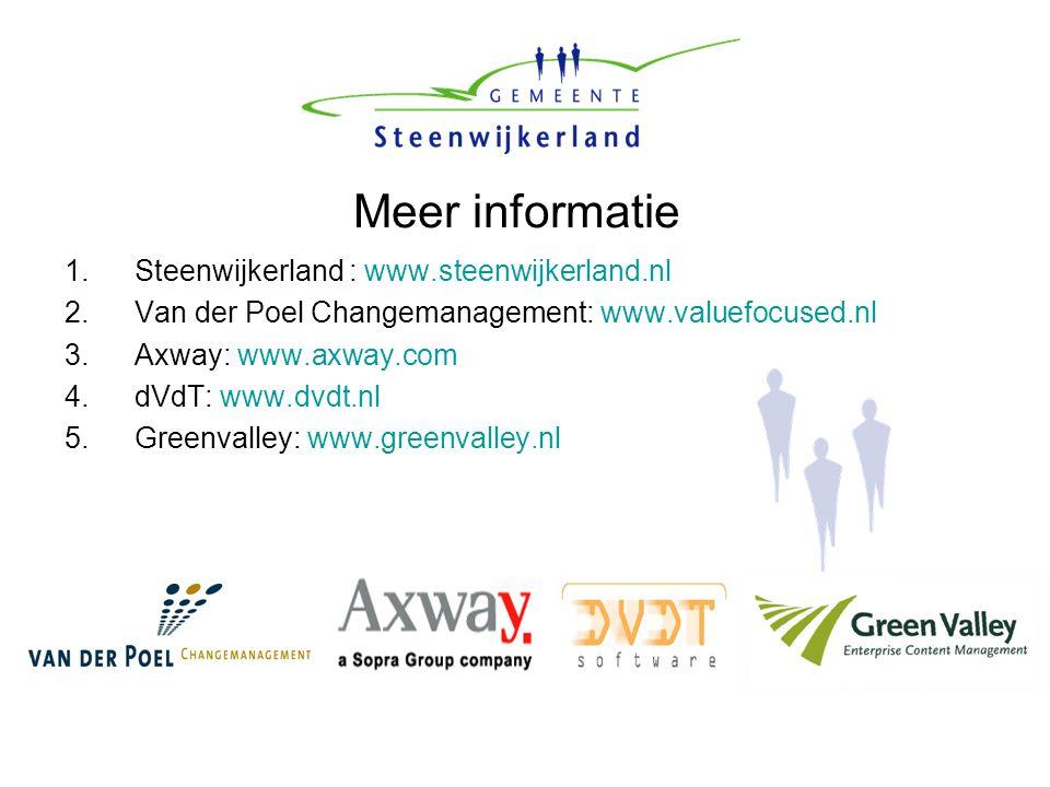 Meer informatie 1.Steenwijkerland : www.steenwijkerland.nl 2.Van der Poel Changemanagement: www.valuefocused.nl 3.Axway: www.axway.com 4.dVdT: www.dvd