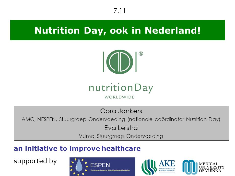 © nutritionDay 2010 supported by January 21st 2010 November 4th 2010 18982 pt