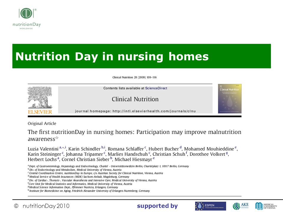Nutrition Day in nursing homes