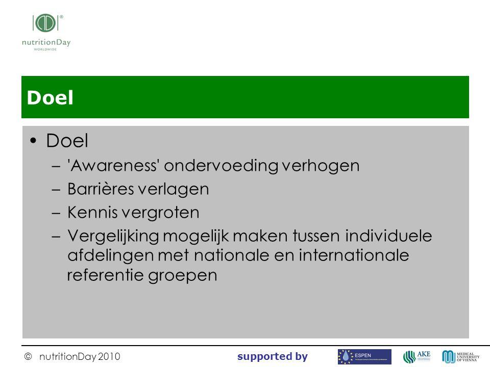 © nutritionDay 2010 supported by Doel –'Awareness' ondervoeding verhogen –Barrières verlagen –Kennis vergroten –Vergelijking mogelijk maken tussen ind