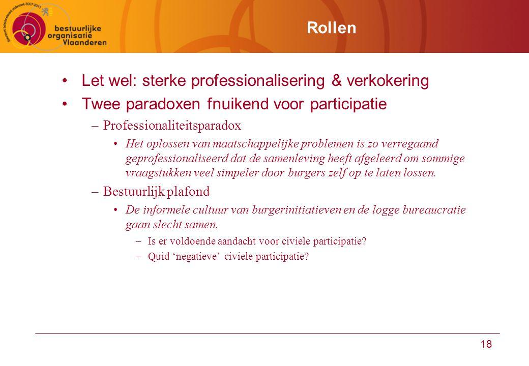 18 Rollen Let wel: sterke professionalisering & verkokering Twee paradoxen fnuikend voor participatie –Professionaliteitsparadox Het oplossen van maat