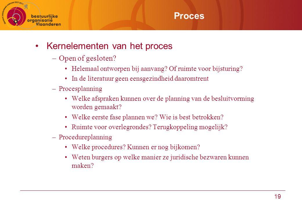19 Proces Kernelementen van het proces –Open of gesloten? Helemaal ontworpen bij aanvang? Of ruimte voor bijsturing? In de literatuur geen eensgezindh