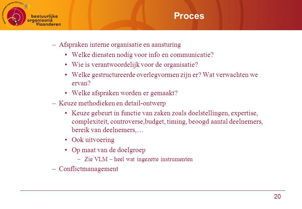 20 Proces –Afspraken interne organisatie en aansturing Welke diensten nodig voor info en communicatie? Wie is verantwoordelijk voor de organisatie? We
