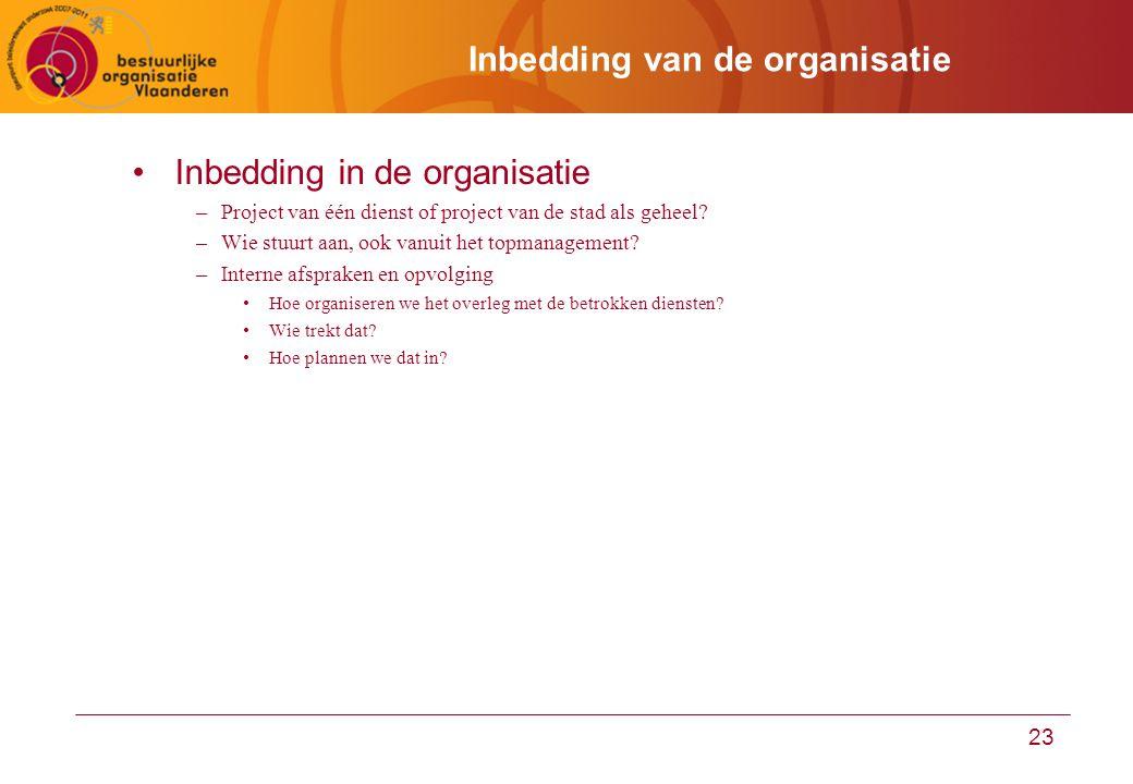 23 Inbedding van de organisatie Inbedding in de organisatie –Project van één dienst of project van de stad als geheel.
