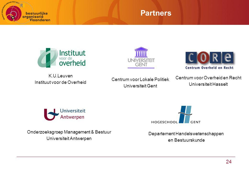 24 Partners Centrum voor Lokale Politiek Universiteit Gent Onderzoeksgroep Management & Bestuur Universiteit Antwerpen Departement Handelswetenschappen en Bestuurskunde K.U.Leuven Instituut voor de Overheid Centrum voor Overheid en Recht Universiteit Hasselt