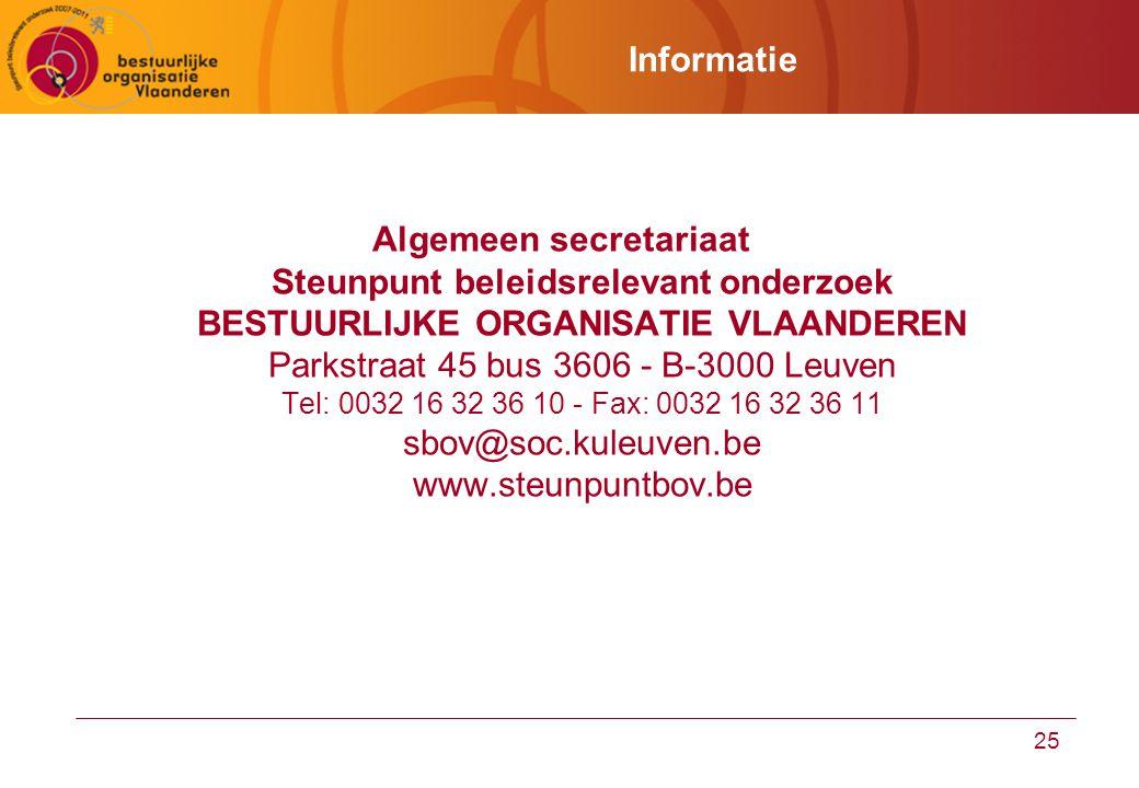 25 Informatie Algemeen secretariaat Steunpunt beleidsrelevant onderzoek BESTUURLIJKE ORGANISATIE VLAANDEREN Parkstraat 45 bus 3606 - B-3000 Leuven Tel