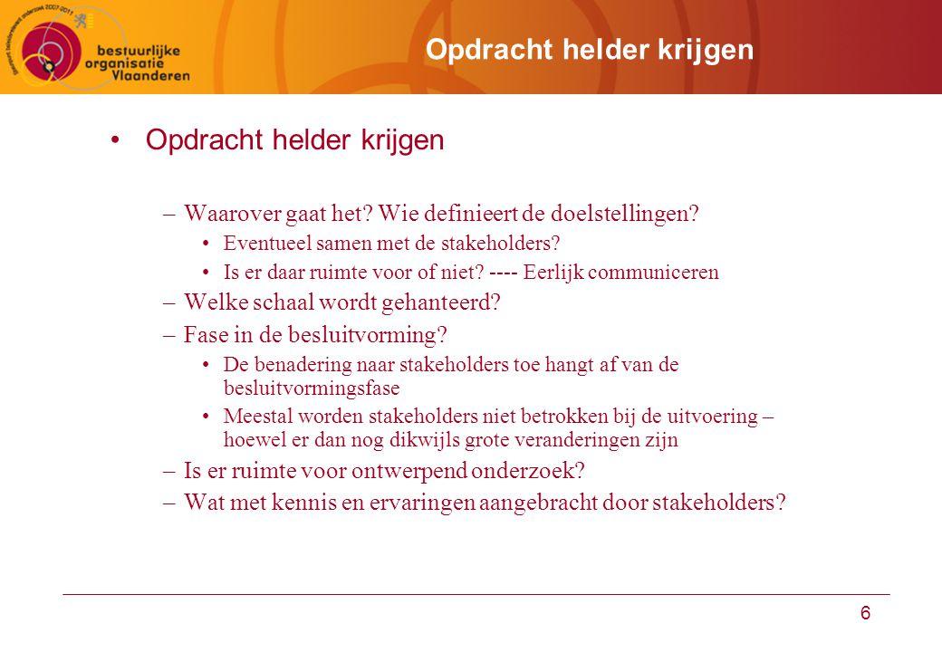 6 Opdracht helder krijgen –Waarover gaat het? Wie definieert de doelstellingen? Eventueel samen met de stakeholders? Is er daar ruimte voor of niet? -