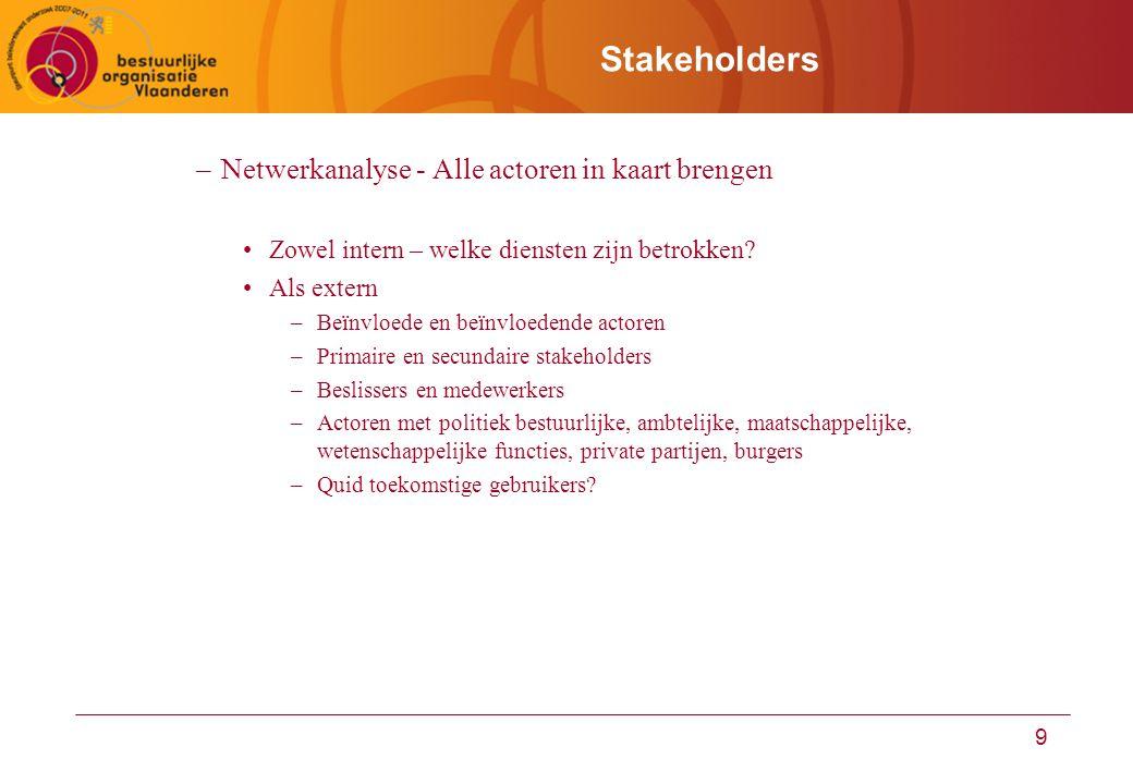 9 Stakeholders –Netwerkanalyse - Alle actoren in kaart brengen Zowel intern – welke diensten zijn betrokken? Als extern –Beïnvloede en beïnvloedende a
