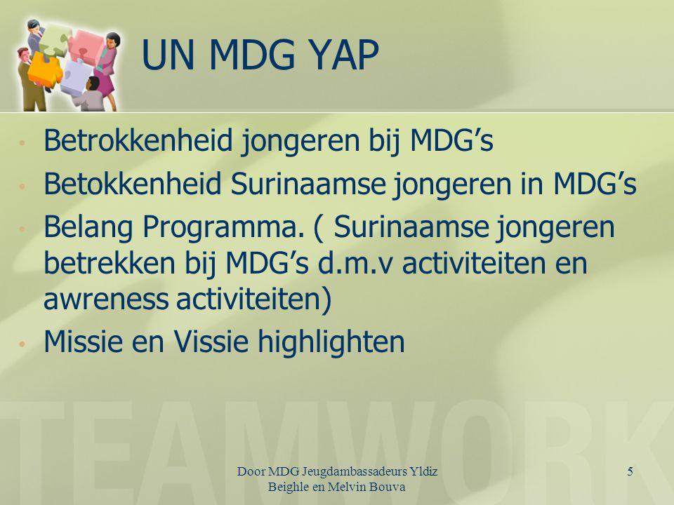 6 Belang programma Wereldwijd netwerk vormen van youth leaders voor de participatie van jongeren bij de achievement van de MDG Uitdragen/ uitvoeren van doelen en ambities van de Declaration of the United Nations Global Youth Leadership Summit Rapporteren aan de UN Global Youth Leadership Summit, zone voorzitter (T&T) en UN Office of Sport for Development and Peace