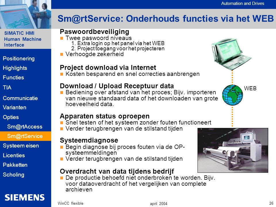 Automation and Drives SIMATIC HMI Human Machine Interface 26WinCC flexible april 2004 Paswoordbeveiliging Twee paswoord niveaus 1.