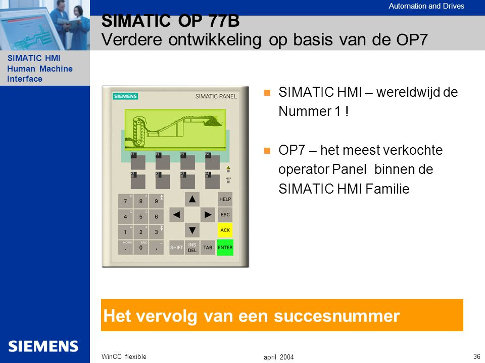 Automation and Drives SIMATIC HMI Human Machine Interface 36WinCC flexible april 2004 SIMATIC OP 77B Verdere ontwikkeling op basis van de OP7 SIMATIC HMI – wereldwijd de Nummer 1 .