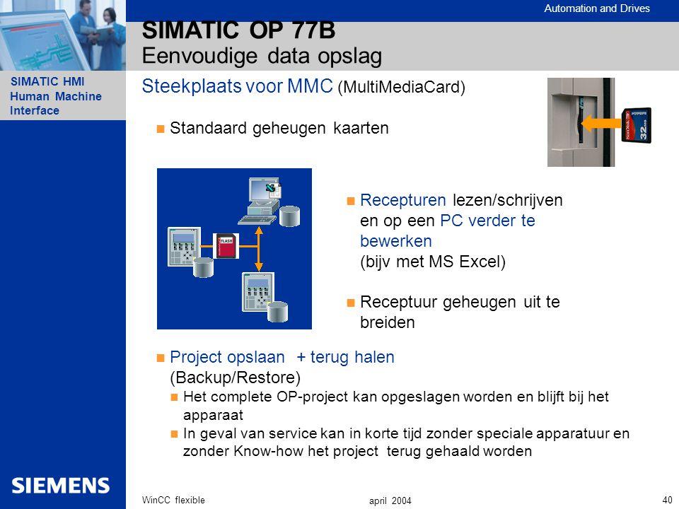 Automation and Drives SIMATIC HMI Human Machine Interface 40WinCC flexible april 2004 SIMATIC OP 77B Eenvoudige data opslag Steekplaats voor MMC (Mult
