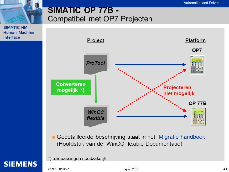 Automation and Drives SIMATIC HMI Human Machine Interface 43WinCC flexible april 2004 SIMATIC OP 77B - Compatibel met OP7 Projecten Projecteren niet m