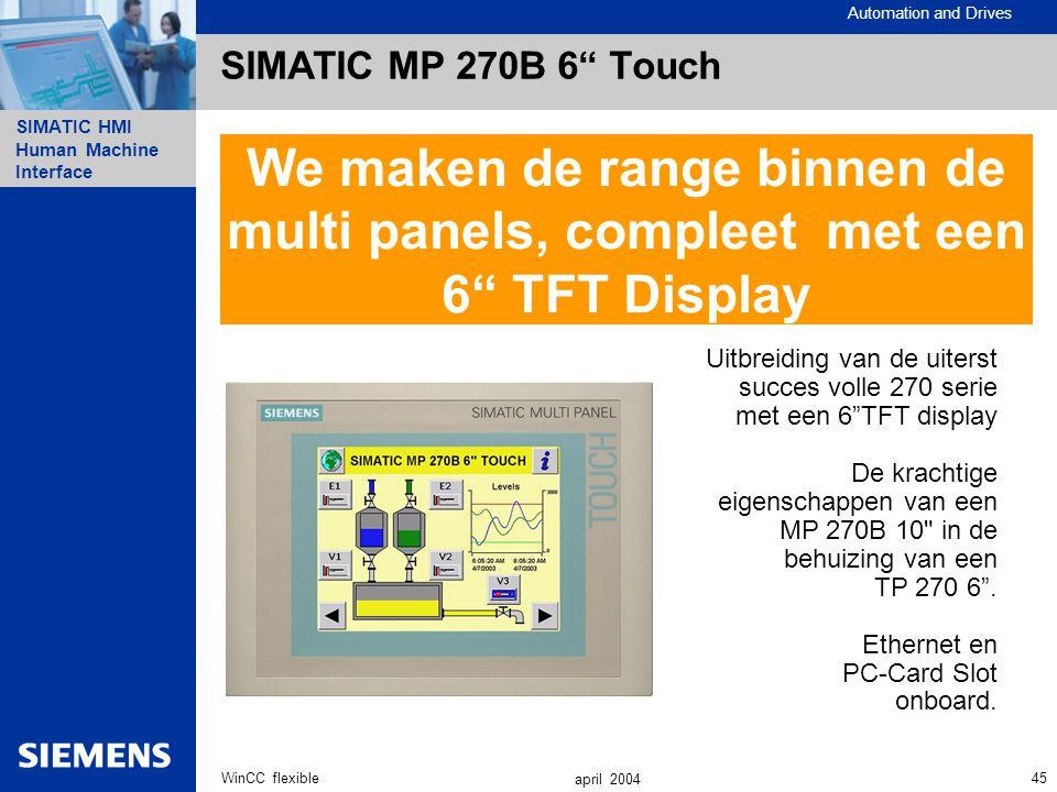 """Automation and Drives SIMATIC HMI Human Machine Interface 45WinCC flexible april 2004 SIMATIC MP 270B 6"""" Touch Uitbreiding van de uiterst succes volle"""