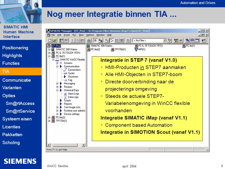 Automation and Drives SIMATIC HMI Human Machine Interface 9WinCC flexible april 2004 Nog meer Integratie binnen TIA...