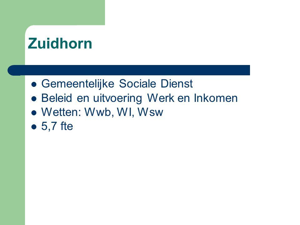 Zuidhorn Gemeentelijke Sociale Dienst Beleid en uitvoering Werk en Inkomen Wetten: Wwb, WI, Wsw 5,7 fte