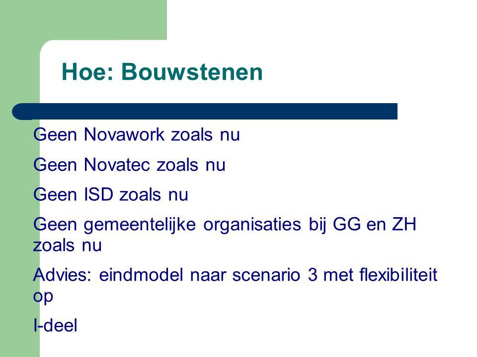 Hoe: Bouwstenen Geen Novawork zoals nu Geen Novatec zoals nu Geen ISD zoals nu Geen gemeentelijke organisaties bij GG en ZH zoals nu Advies: eindmodel naar scenario 3 met flexibiliteit op I-deel