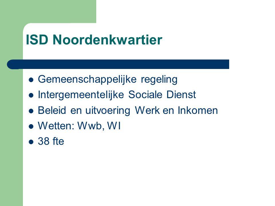 ISD Noordenkwartier Gemeenschappelijke regeling Intergemeentelijke Sociale Dienst Beleid en uitvoering Werk en Inkomen Wetten: Wwb, WI 38 fte