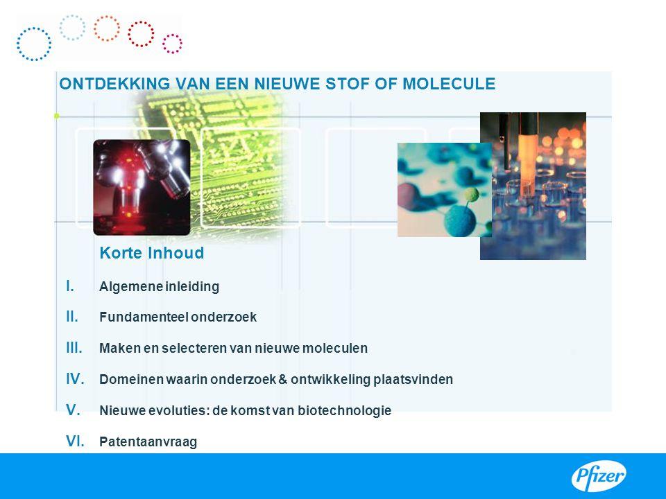 Korte Inhoud I. Algemene inleiding II. Fundamenteel onderzoek III. Maken en selecteren van nieuwe moleculen IV. Domeinen waarin onderzoek & ontwikkeli