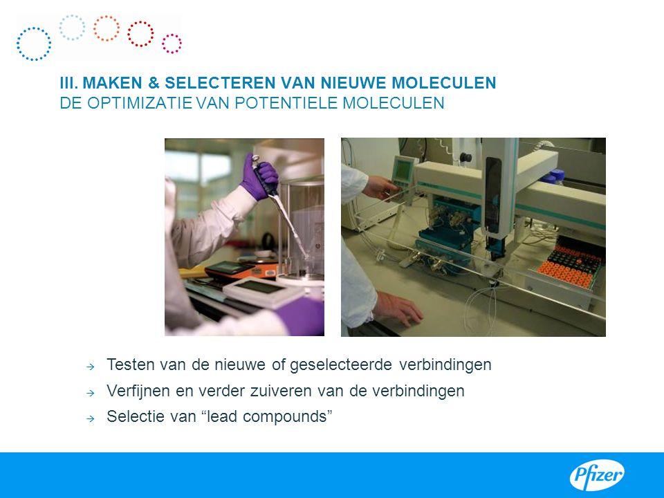 """I  Testen van de nieuwe of geselecteerde verbindingen  Verfijnen en verder zuiveren van de verbindingen  Selectie van """"lead compounds"""" III. MAKEN &"""