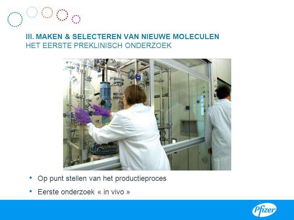 Op punt stellen van het productieproces Eerste onderzoek « in vivo » III. MAKEN & SELECTEREN VAN NIEUWE MOLECULEN HET EERSTE PREKLINISCH ONDERZOEK I