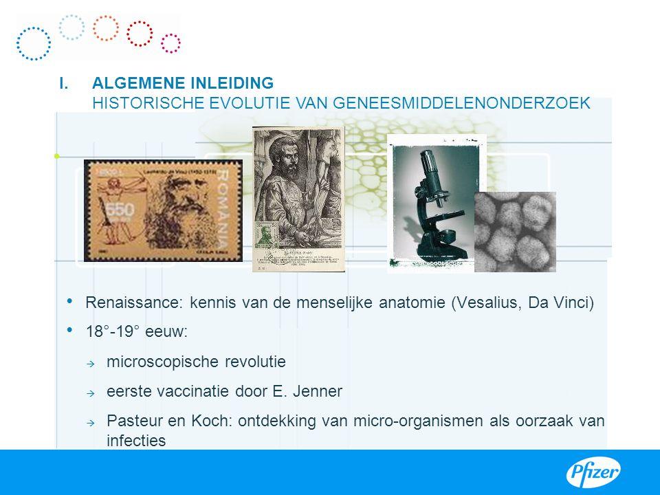 Renaissance: kennis van de menselijke anatomie (Vesalius, Da Vinci) 18°-19° eeuw:  microscopische revolutie  eerste vaccinatie door E. Jenner  Past
