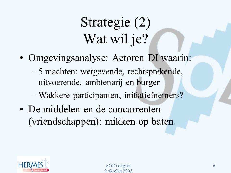 SOD congres 9 oktober 2003 6 Strategie (2) Wat wil je? Omgevingsanalyse: Actoren DI waarin: –5 machten: wetgevende, rechtsprekende, uitvoerende, ambte