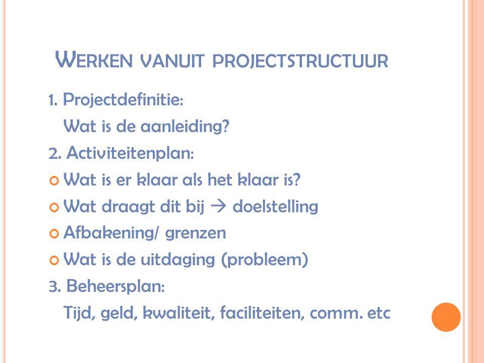 W ERKEN VANUIT PROJECTSTRUCTUUR 1. Projectdefinitie: Wat is de aanleiding? 2. Activiteitenplan: Wat is er klaar als het klaar is? Wat draagt dit bij 