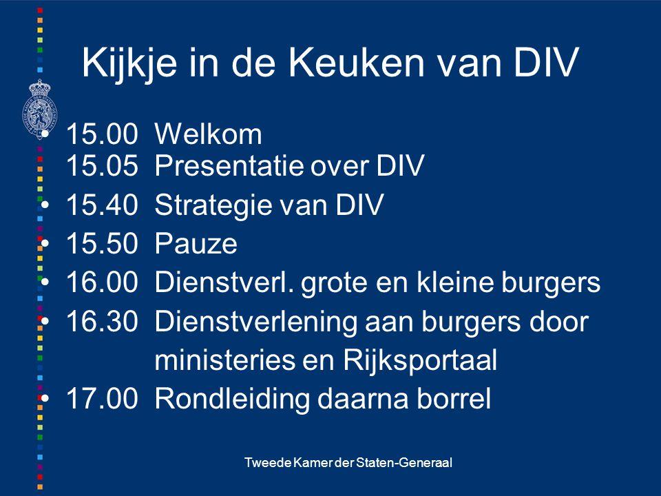 Tweede Kamer der Staten-Generaal Kijkje in de Keuken van DIV 15.00 Welkom 15.05 Presentatie over DIV 15.40 Strategie van DIV 15.50 Pauze 16.00 Dienstverl.