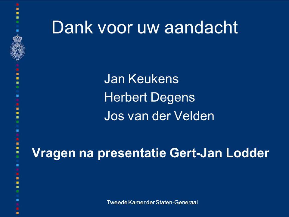 Tweede Kamer der Staten-Generaal Dank voor uw aandacht Jan Keukens Herbert Degens Jos van der Velden Vragen na presentatie Gert-Jan Lodder