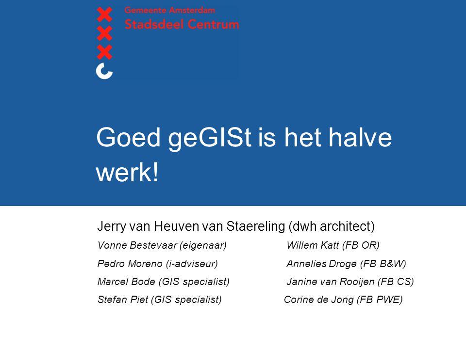 Goed geGISt is het halve werk! Jerry van Heuven van Staereling (dwh architect) Vonne Bestevaar (eigenaar) Willem Katt (FB OR) Pedro Moreno (i-adviseur