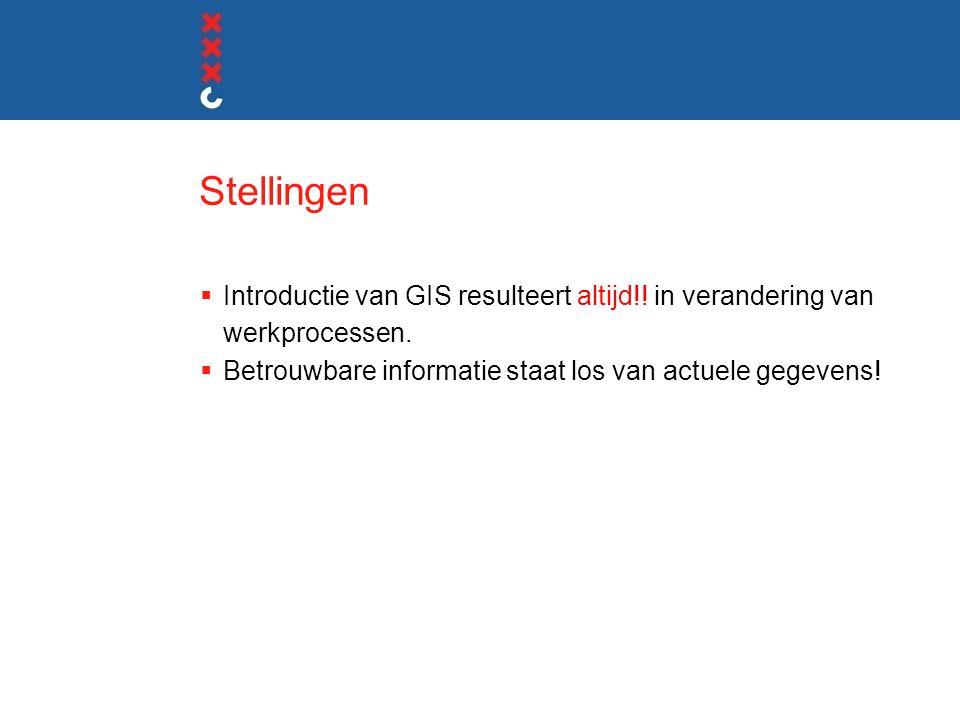 Stellingen  Introductie van GIS resulteert altijd!! in verandering van werkprocessen.  Betrouwbare informatie staat los van actuele gegevens!