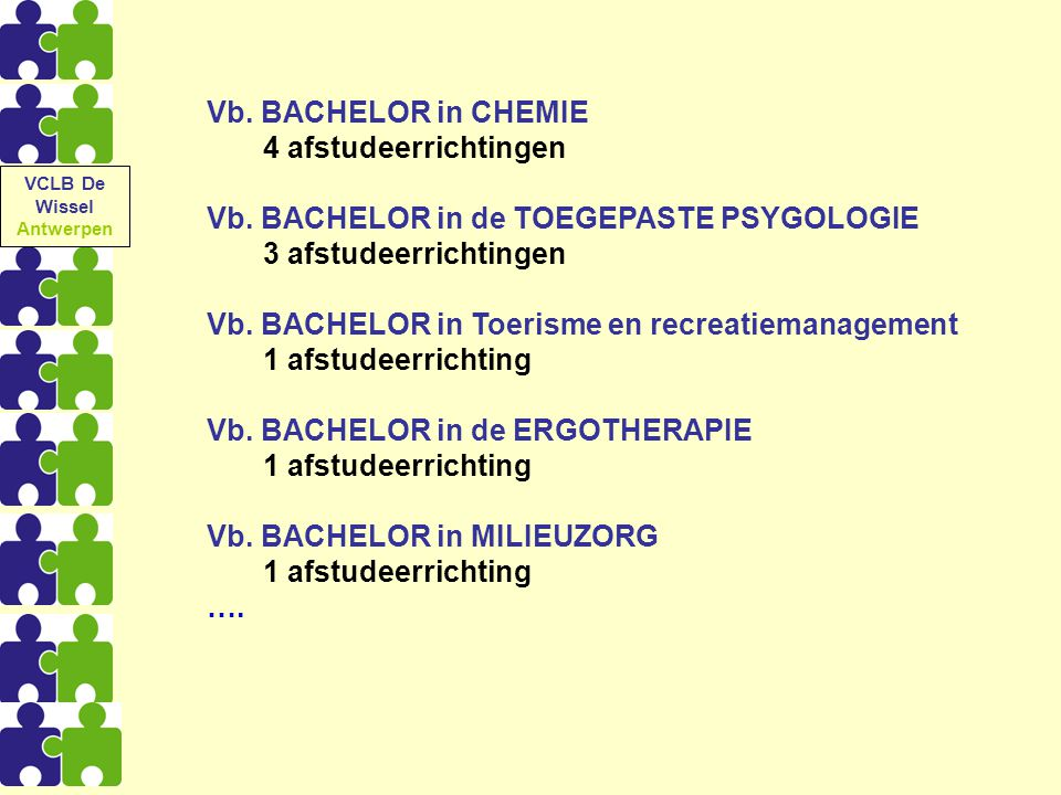 Vb. BACHELOR in CHEMIE 4 afstudeerrichtingen Vb. BACHELOR in de TOEGEPASTE PSYGOLOGIE 3 afstudeerrichtingen Vb. BACHELOR in Toerisme en recreatiemanag