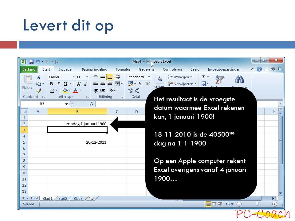 Levert dit op Het resultaat is de vroegste datum waarmee Excel rekenen kan, 1 januari 1900! 18-11-2010 is de 40500 ste dag na 1-1-1900 Op een Apple co