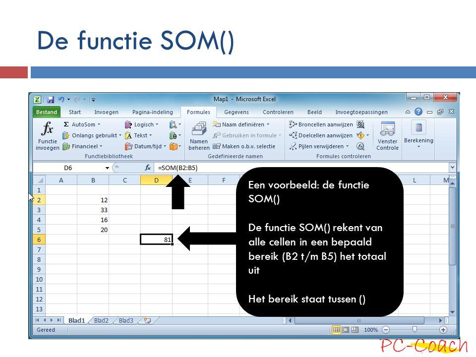 De functie SOM() Een voorbeeld: de functie SOM() De functie SOM() rekent van alle cellen in een bepaald bereik (B2 t/m B5) het totaal uit Het bereik s