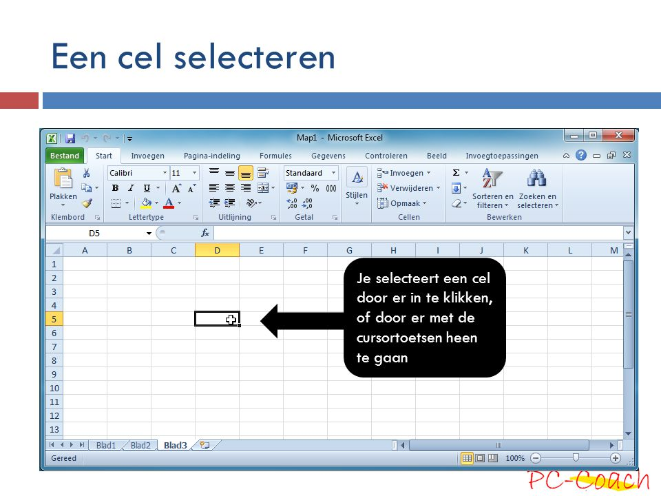 Een cel selecteren Je selecteert een cel door er in te klikken, of door er met de cursortoetsen heen te gaan