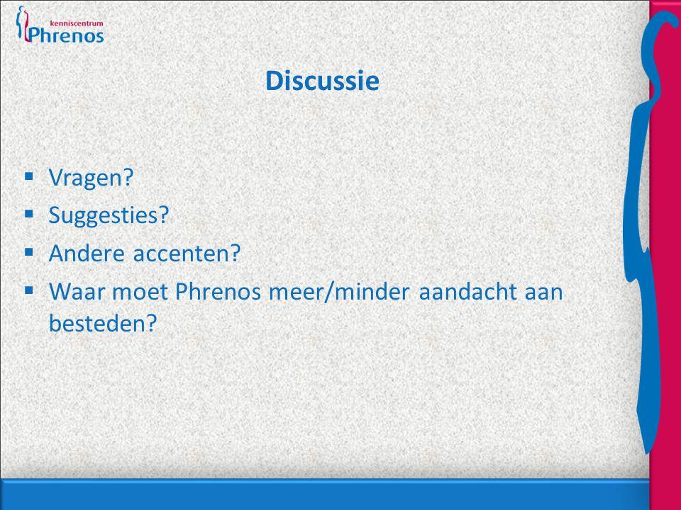 Discussie  Vragen?  Suggesties?  Andere accenten?  Waar moet Phrenos meer/minder aandacht aan besteden?