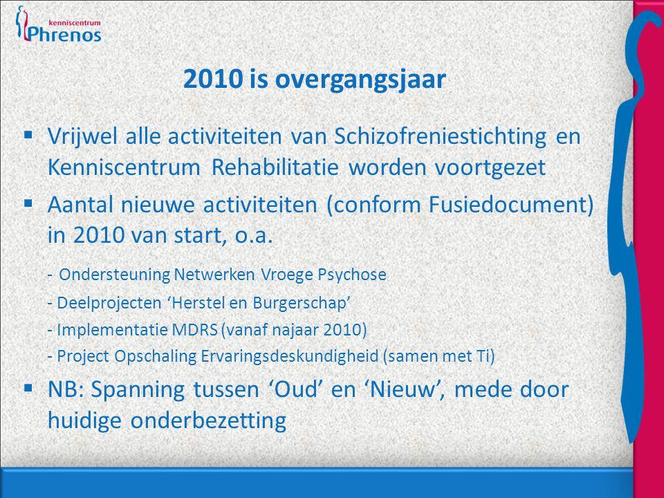 2010 is overgangsjaar  Vrijwel alle activiteiten van Schizofreniestichting en Kenniscentrum Rehabilitatie worden voortgezet  Aantal nieuwe activitei