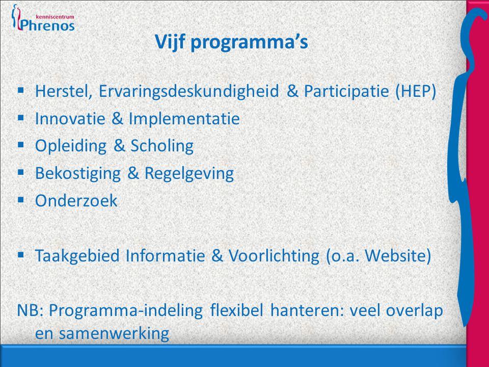 Vijf programma's  Herstel, Ervaringsdeskundigheid & Participatie (HEP)  Innovatie & Implementatie  Opleiding & Scholing  Bekostiging & Regelgeving  Onderzoek  Taakgebied Informatie & Voorlichting (o.a.