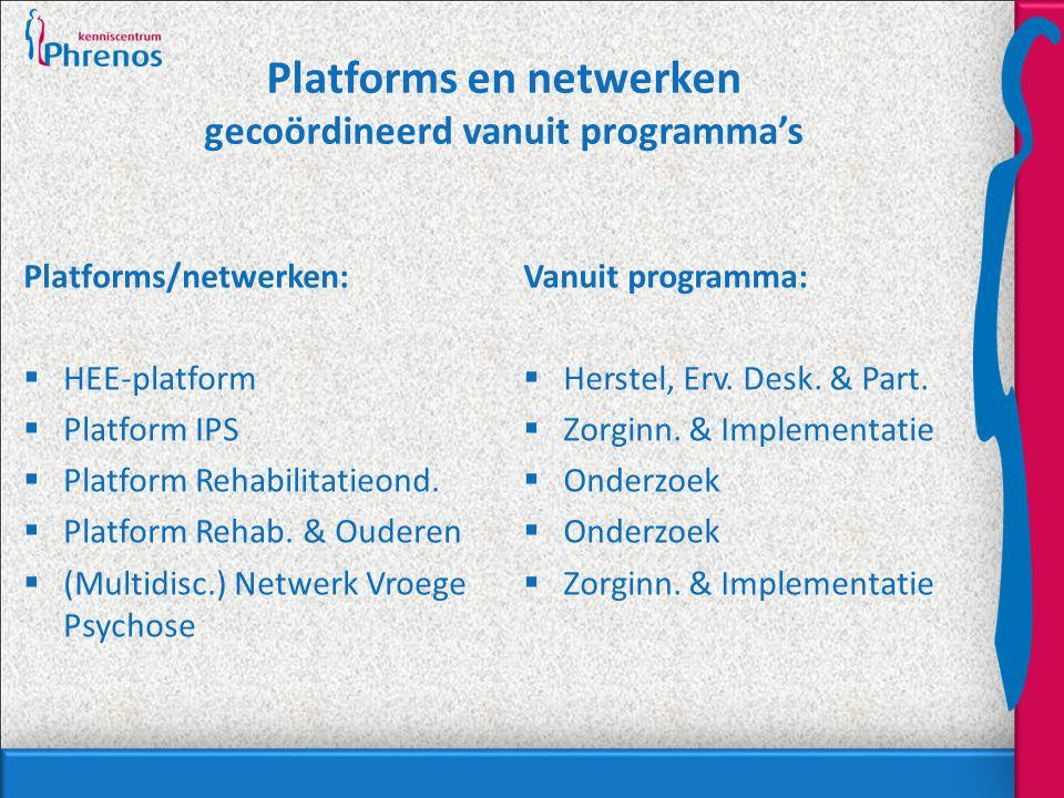 Platforms en netwerken gecoördineerd vanuit programma's Platforms/netwerken:  HEE-platform  Platform IPS  Platform Rehabilitatieond.  Platform Reh