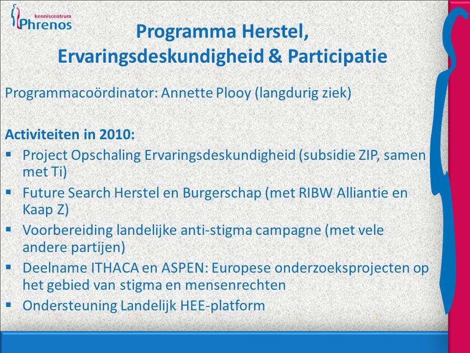 Programma Herstel, Ervaringsdeskundigheid & Participatie Programmacoördinator: Annette Plooy (langdurig ziek) Activiteiten in 2010:  Project Opschaling Ervaringsdeskundigheid (subsidie ZIP, samen met Ti)  Future Search Herstel en Burgerschap (met RIBW Alliantie en Kaap Z)  Voorbereiding landelijke anti-stigma campagne (met vele andere partijen)  Deelname ITHACA en ASPEN: Europese onderzoeksprojecten op het gebied van stigma en mensenrechten  Ondersteuning Landelijk HEE-platform